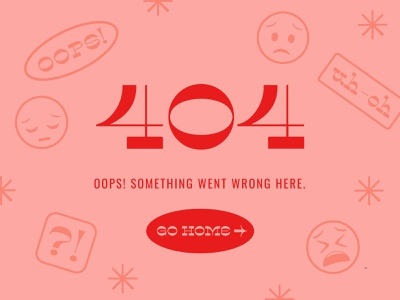 404 Page Graphic 404 error message bright colorful red pink vintage retro typography design vector illustration graphic design