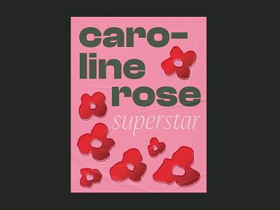 Caroline Rose Superstar Poster band merch red pink flower gradient music merchandise band poster poster design poster typography vector design illustration graphic design