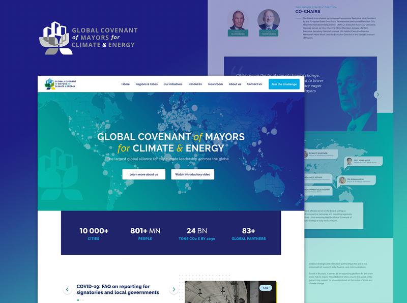 Global Covenant of Mayors (GCOM) blue mayor climate desktop uxdesign ui web design web