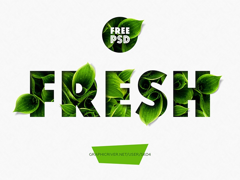 FREEBIE - Fresh - PSD Text Mockup lettering typography andrew skoch fresh nature free text effect text effect organic free psd freebie add-on mockup