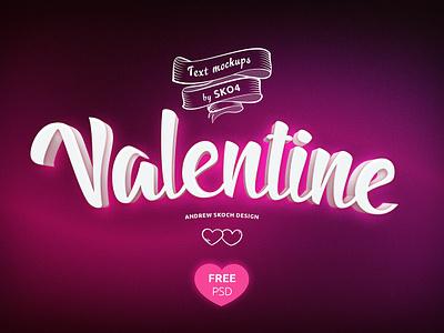 FREEBIE - Valentines PSD Mockup vol.3 valentines valentine text effect mockup love free psd freebie free card