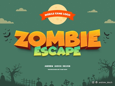 Zombie Escape - Mobile Game Logo text effect game logo andriod ios mobile app icon mobile app design app mobile app mobile