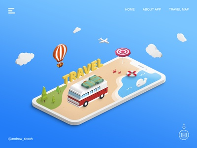 Travel Landing Free PSD inspiration iso isometric isometric illustration travel travel illustration landing psd free landing freebie free psd free