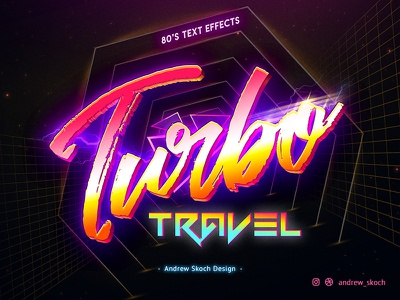 Turbo Travel - PSD Mockup retro 1980s 1980 synthwave mockup psd typography text effect 80s style 80s