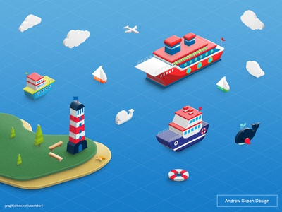 Isometric Sea photoshop tool atn action photoshop inspiration whale dolphin illustration isometric clouds lighthouse boat sea