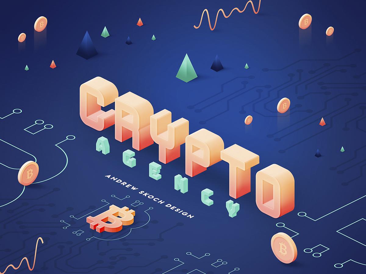 Crypto Agency - Text Effect trendy 3d illustration bitcoincash ethereum bitcoin agency crypto