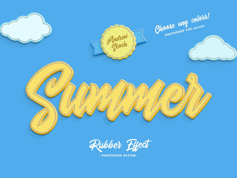 Rubber Photoshop Action actions photoshop action tools rubber stitched illustration typography text effect lettering letters