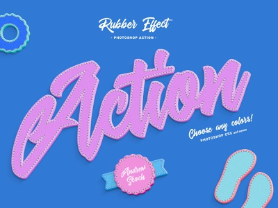 Rubber Photoshop Action photoshop actions actions action photoshop text effect illustration lettering art stitched rubber cute typography letters lettering