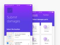 Insurance - Submit damages ux ui minimal product list categories app