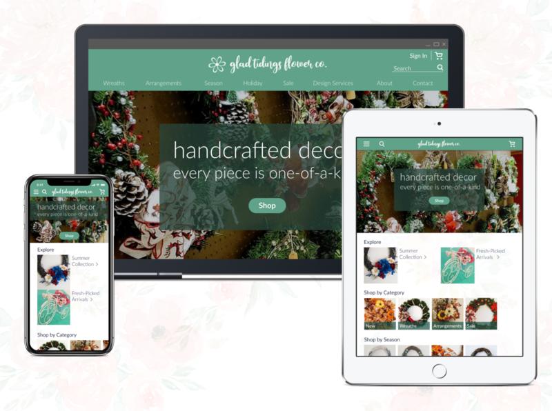 Glad Tidings Flower Co. Online Store responsive responsive website branding floral ux design ui design product design