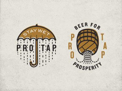 Prohibition Taproom Nº 002 umbrella keg illustration roughen texture philadelphia typography seal badge slogan vintage logo