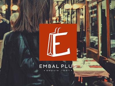 Embal Plus - Branding flat square orange shop bag identity branding logotype logo packaging brand