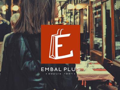Embal Plus rebranding flat square orange shop bag identity branding logotype logo packaging brand