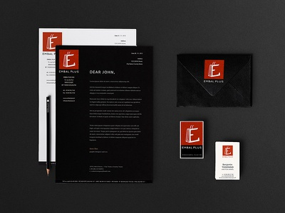 Embal Plus - Stationery square shop packaging orange logotype logo branding business card identity cards business paper