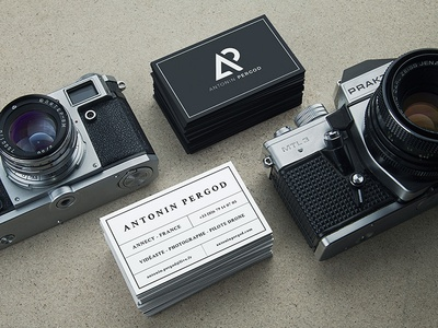 Antonin Pergod branding vintage nature camera photo filmmaker photographer outdoors logotype logo identity business card