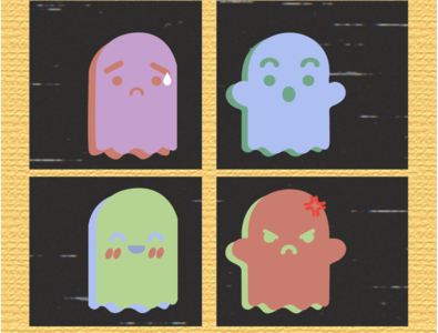 Moody Ghosts icon vector illustration ai
