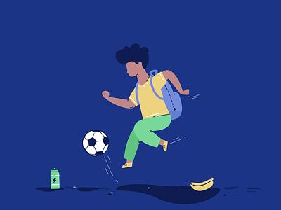Ball play banana drink energy shool kid football footballer play ball