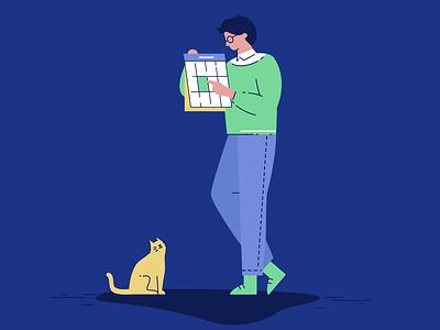 Calendar walk illustration man cat calendar