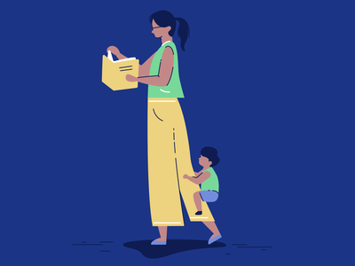 Mom life corporate illustration vector life book learn kid child mom