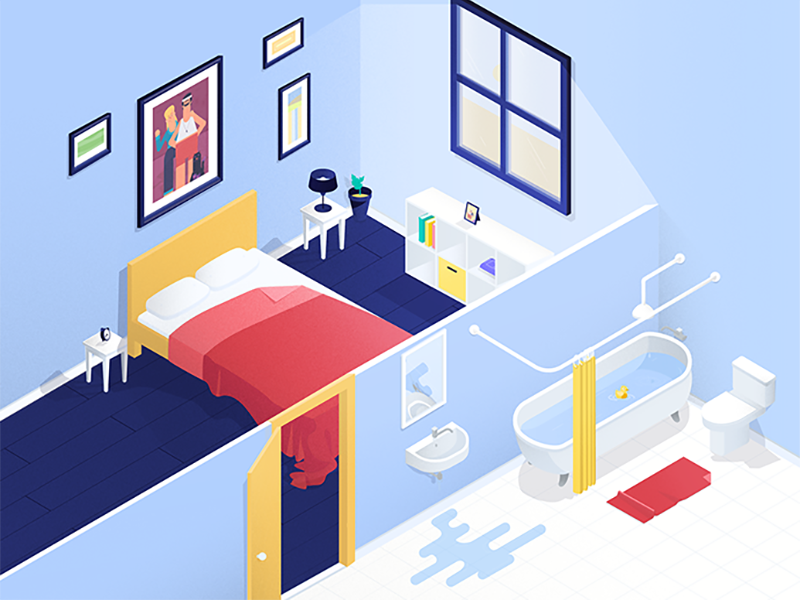 Bedroom En Suite bathroom room isometric bedroom