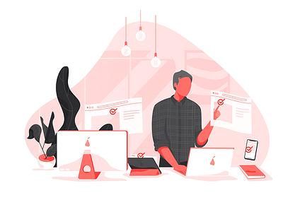 Tester tester designer studio apple design web character vector illustration