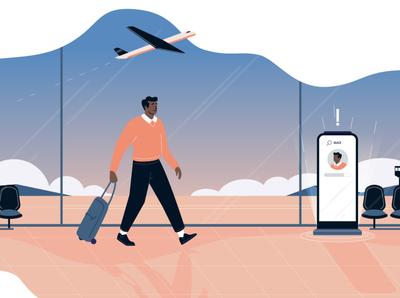 Airport walk travel plane ai screen smart checkin airport