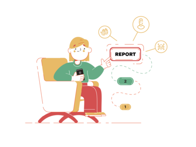 Report steps lock doctor help ui ux girl chair character issue report
