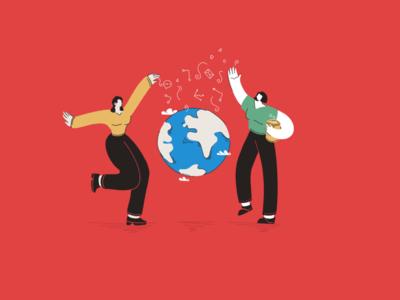 Sharing tech character dance ux ui chat digital globe share tech