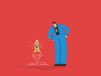 Startup rocket character business idea up start