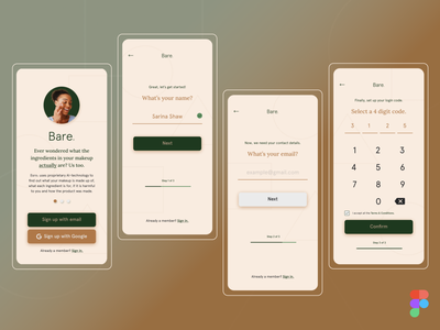 Bare© Mobile App | Daily UI 001 (Sign-up) beauty ui sign up sign up form signup mobile app design dailyuichallenge dailyui app ai