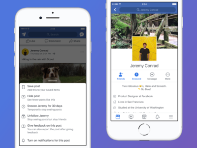Snooze android ios preferences snooze control news feed facebook