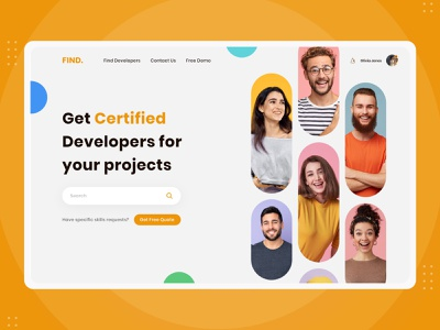 Find Developers - Creative Hero Header web app website design web design banner header banner section creative design hero header creative