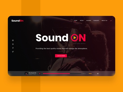 SoundOn (Music Website) design ui design uidesign website website designer web designer website design company hero header banner header hero section landingpage landing page homepage web design website design musician music player music app music