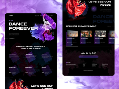 Dfata - Dance Landing Page mockup design layout design web template template homepage landingpage landing page dance party dance