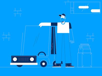 Car lover love car design flat animation art illustration
