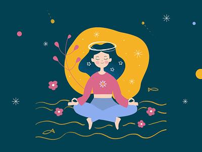Mindfulness meditation mental health mindfulness digital illustration illustration