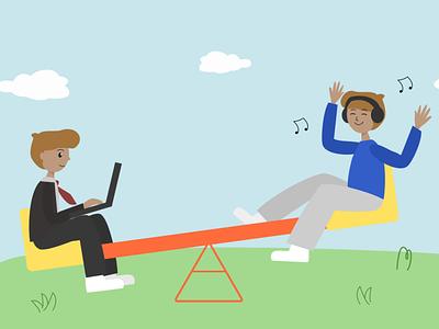 Work-life balance work from home remote work blog character illustration illustration digital art digital illustration
