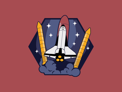 Reach for the stars my friends. Reach for the stars. shuttle space astronauts illustration badge launch