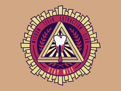 Wisdom Teeth Extraction Club for fun emblem wisdom teeth badge logo