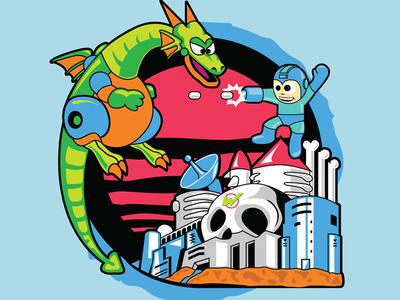 Mega Man nintendo video game illustration poster mega man