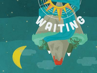 Paradise Waiting Poster night day paradise music fun illustration poster