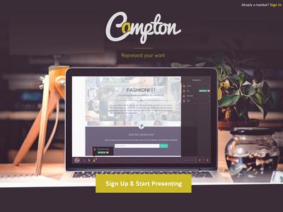 Compton presentation ux ui coming soon splash page design tool marketing app