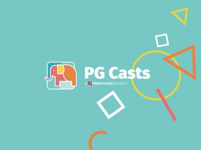 PG Casts screencasts fun bright shapes elephant logo identity