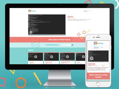 PG Casts Site screencast colorful branding shapes responsive website