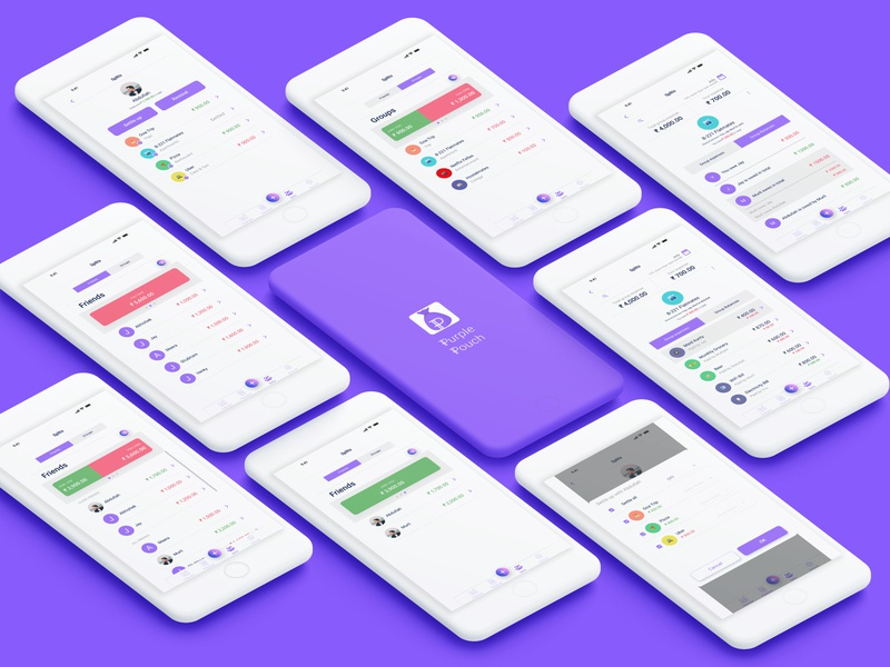 Splits page - Purple Pouch figma expense splitwise branding india logo uiux expense tracker expense manager ux ui