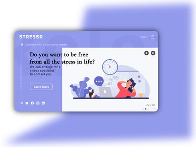 Stressr typography illustrator ux ui branding design minimal web material creative design