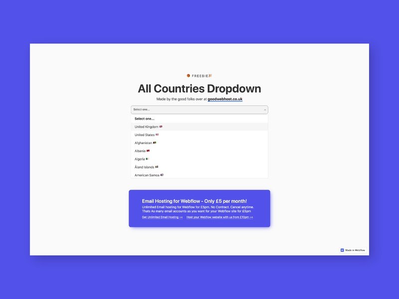 """All Countries Dropdown"" for Webflow freebie dropdown design uiux ui web host web hosting web webdesign website webflow"