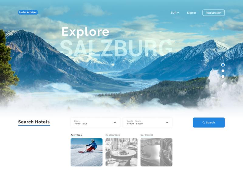 Explore Salzburg - Landing Page austria hotel landing minimal design