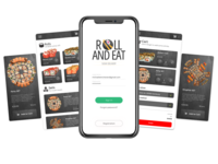Roll And Eat - Sushi Delivery App typography mobile app design design sushi mobile minimal cards ui cards design cards mobile design mobile app app