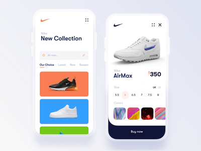 Nike Store 3D interaction after effects store app cinema 4d 3d interaction motion air max shoes gradient clean interface design app mobile experience ui ux shopping store
